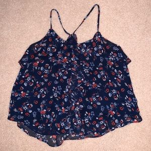 Forever 21 ruffle, floral pattern tank top